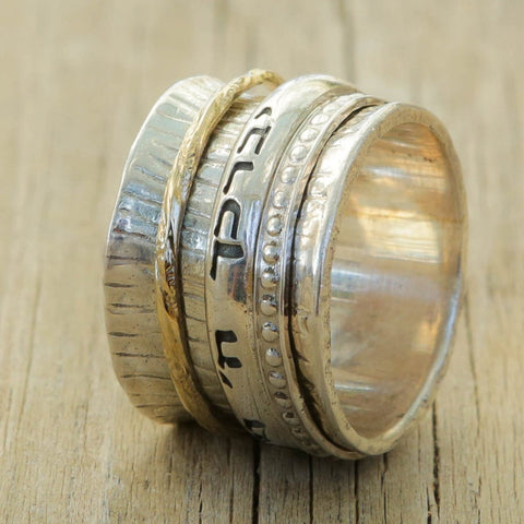 Crown Hammered Spinner Ring - Yehod