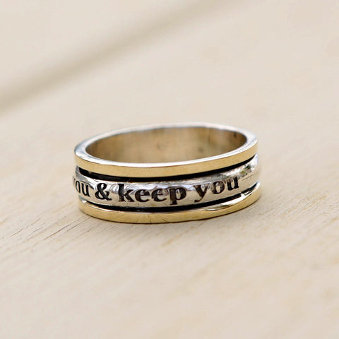 The Lord Bless You And Keep You Kabbalah Ring, Hebrew Inscribed Ring, Silver Ring, Unisex Ring, Wedding Bands,Spin Ring,Judaica, Jewish Ring