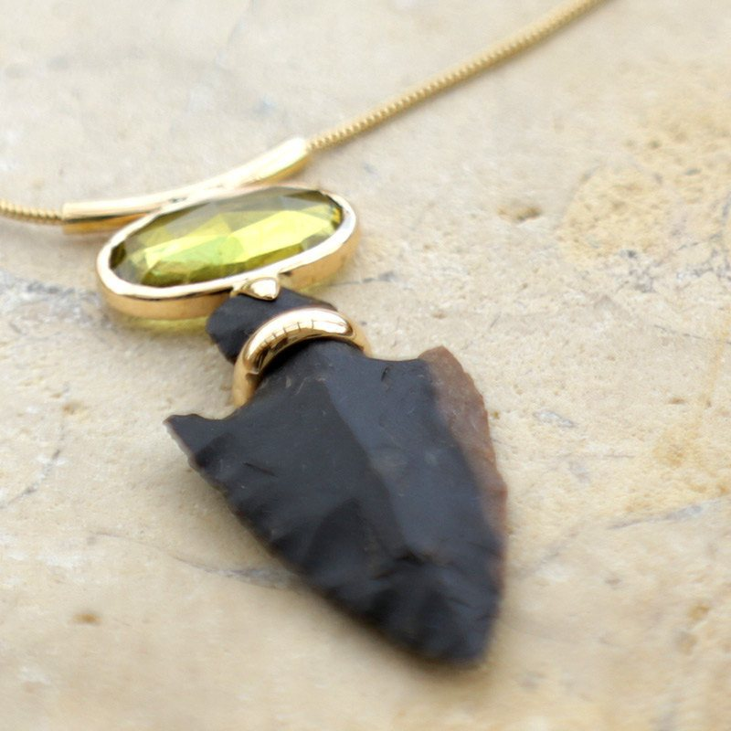 Tourmalin Necklace, Gold Necklace, Gift Idea,Fig Leaf - 14k Gold And Green Tourmaline On Flint Stone