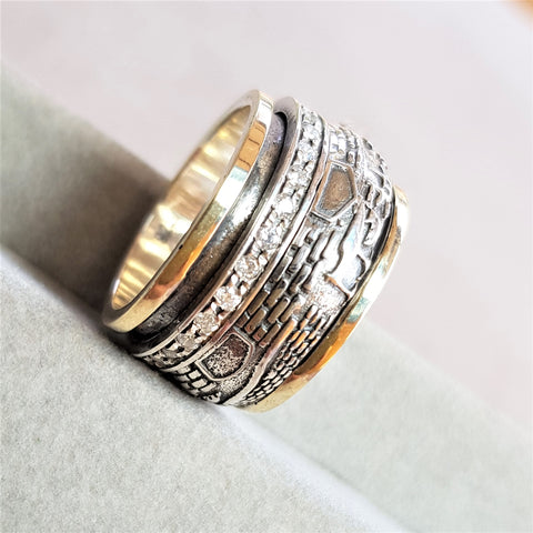 Zion | Jerusalem Ornat Ring, Art Deco Hammered Band, Gold & Silver Spinner Ring, Wedding Ornat Band, Zircon Raw Ring