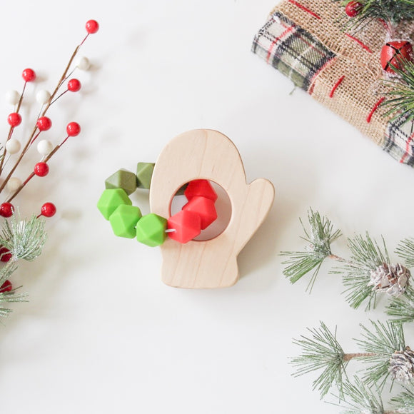 Teething toy, Baby's First Christmas, wooden teether, silicone teether silicone teething toy handmade
