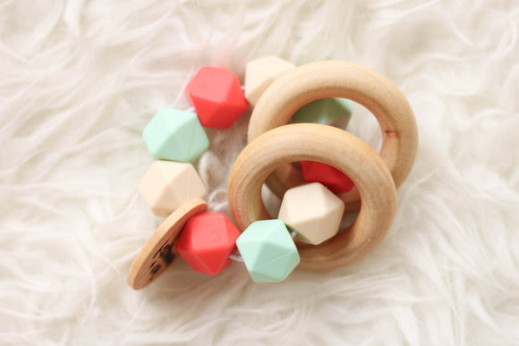 Vintage Coral Teether Rattle