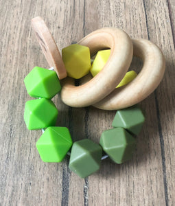Green Color Block Teether Rattle