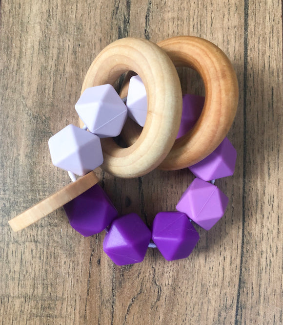 Purple Color Block Teether Rattle
