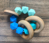 Blue Color Block Teether Rattle