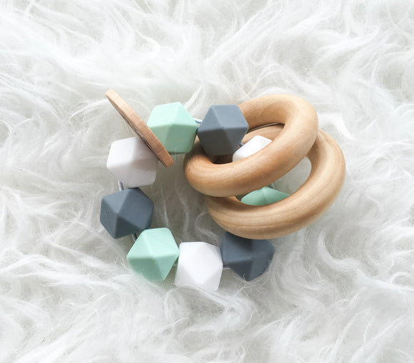 Mint-Grey-White Teether Rattle