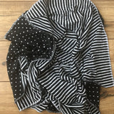 Black + White Reversible Baby Blanket | Polka Dot + Stripes