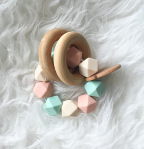Vintage Peach Teether Rattle