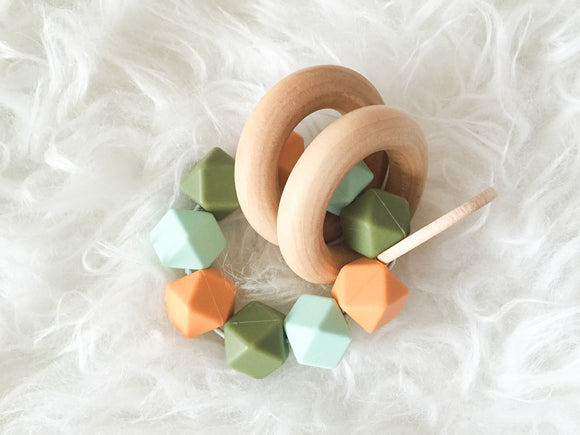 Vintage Olive Teether Rattle