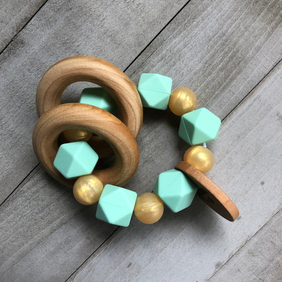 Golden Mint Teether Rattle
