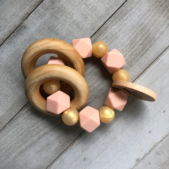 Golden Peach Teether Rattle