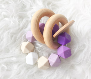 Purple Ombre Teether Rattle- Beautiful Wood and Silicone