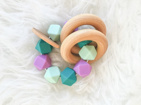 Mermaid Teether Rattle- Beautiful Silicone and Wood