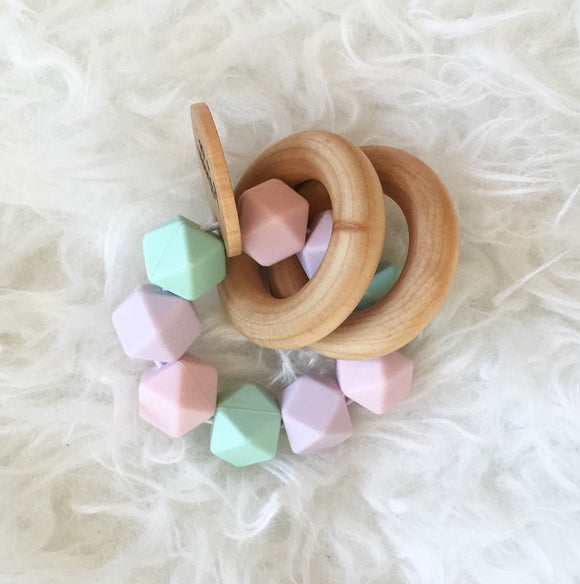 Cotton Candy Teether Rattle- Beautiful Wood and Silicone