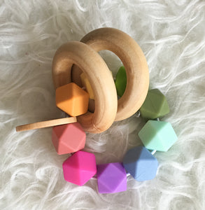 Soft Rainbow Teether Rattle- Beautiful Wood and Silicone