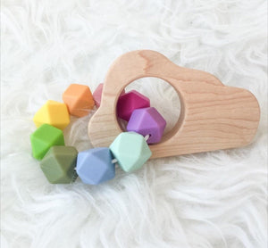 Soft Rainbow Cloud Wood Shape Teether- Beautiful Wood and Silicone
