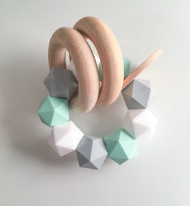 Mint-Grey-White Icosahedron Teether Rattle- Modern Silicone and Wood