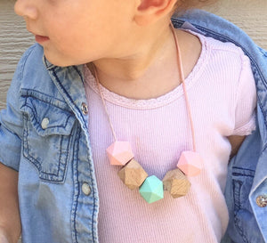 Mint, Pink & Wood Teething/Sensory Necklace