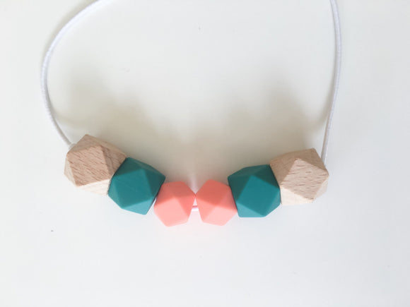 Emerald, Salmon & Wood Teething/Sensory Necklace