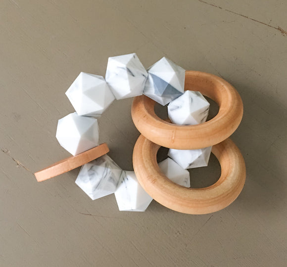 Marble Icosahedron Teether Rattle- Modern Silicone and Wood