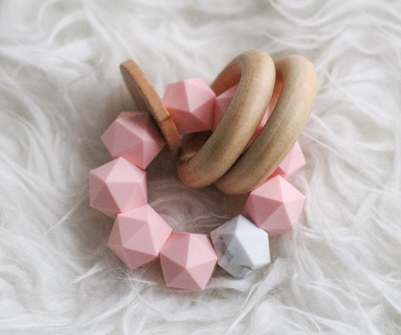Pink Marble Icosahedron Teether Rattle- Modern Silicone and Wood