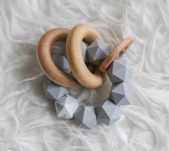 Grey Marble Icosahedron Teether Rattle- Modern Silicone and Wood