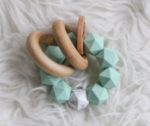 Mint-Marble Icosahedron Teething Rattle- Modern Silicone and Wood