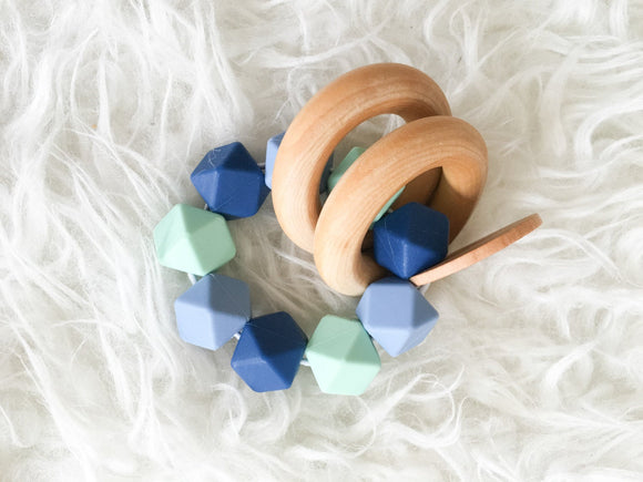 Tide Pool Teether Rattle- Beautiful Wood and Silicone