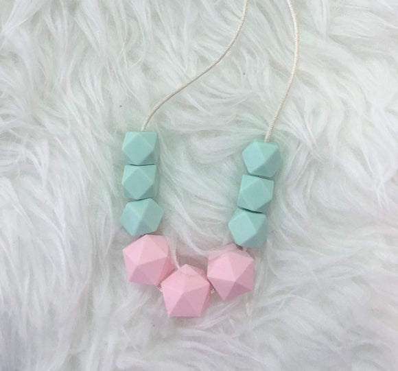 Mint & Pink Toddler Teething/Sensory Necklace