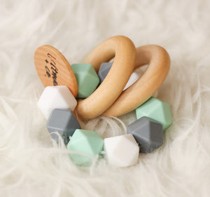 Mint-Grey-White Teether Rattle- Beautiful Silicone and Wood