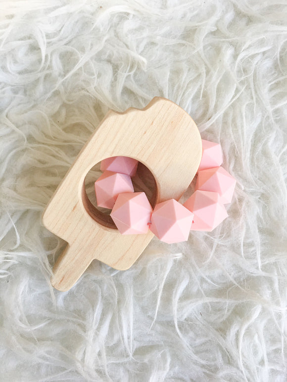 Strawberry Cream Popsicle Wood Shape Teether- Beautiful Wood and Silicone