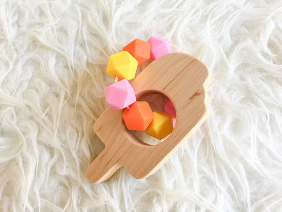 Dreamsicle Popsicle Wood Shape Teether- Beautiful Wood and Silicone