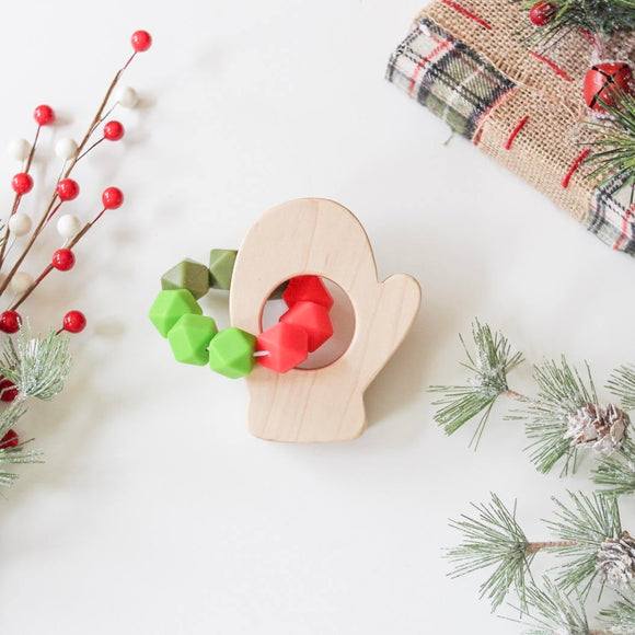 Mitten Wood Shape Teether- Beautiful wood and silicone