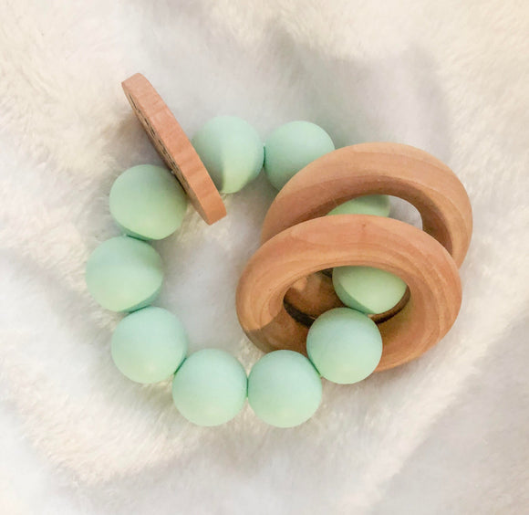 Mint Round Teether Rattle- Beautiful Wood and Silicone
