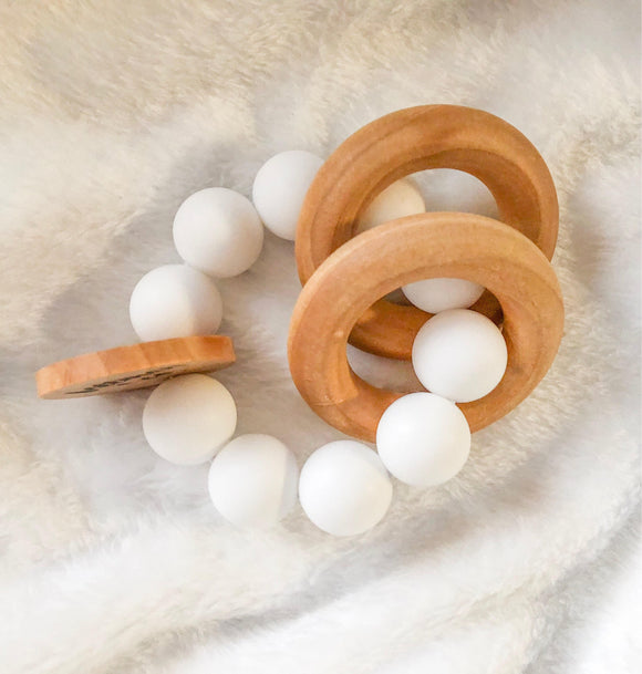 Snow Round Wooden Teether- Beautiful Wood and Silicone
