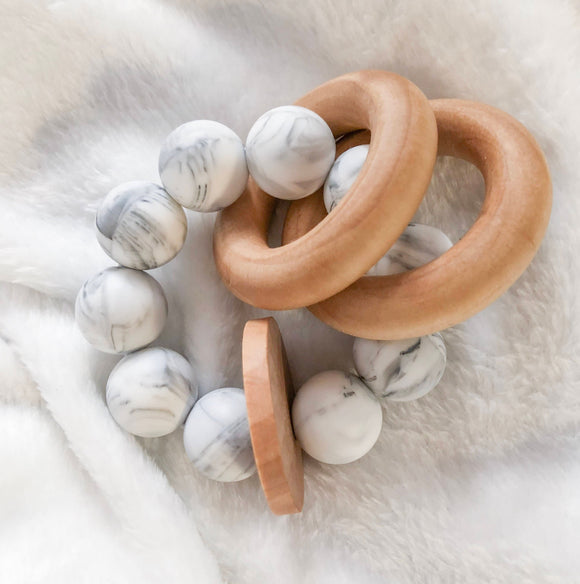 Marble Round Teether Rattle- Modern Wood and Silicone