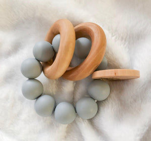 Grey Round Teether Rattle- Beautiful Wood and Silicone