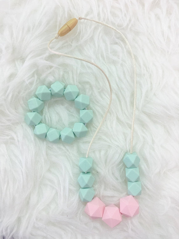 Mint & Pink Teething/Sensory Jewelry Set