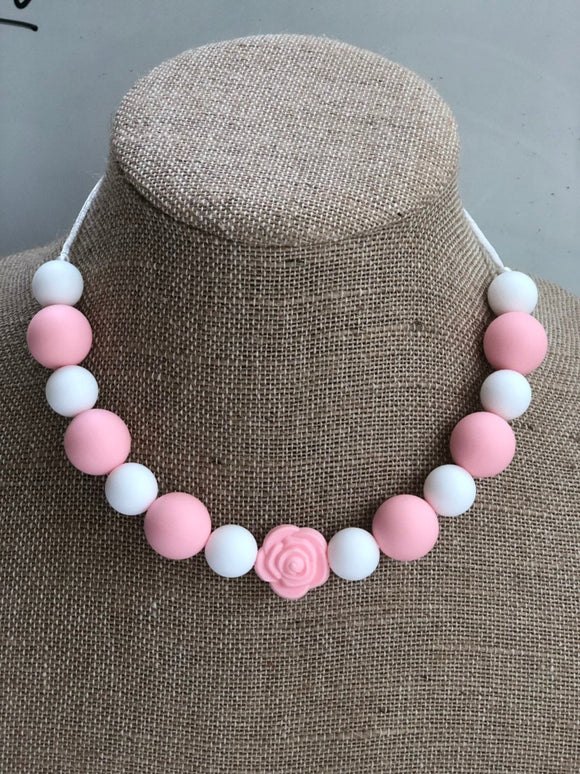 Pink and White Rose Necklace