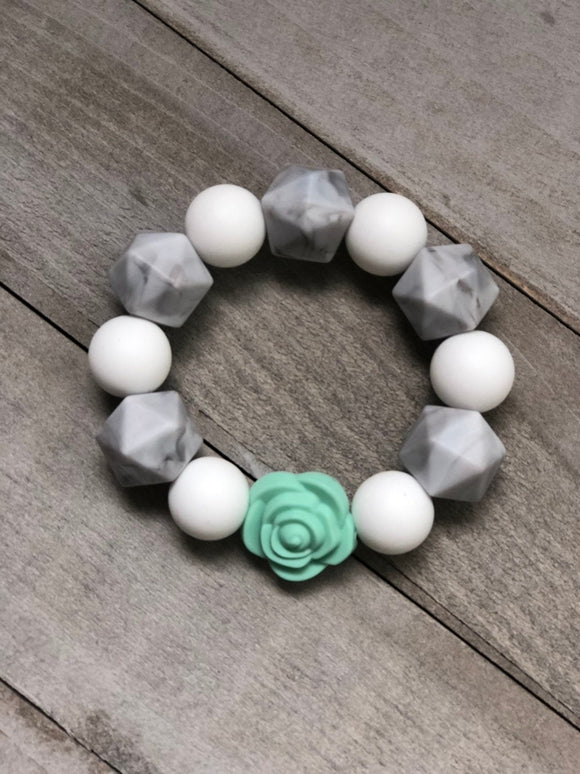 Marble, White and Mint Rose Sensory Bracelet