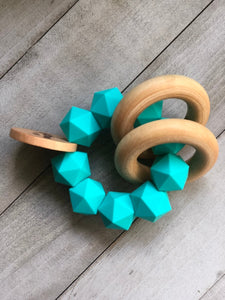 Teal Icosahedron Teether Rattle- Modern Silicone and Wood