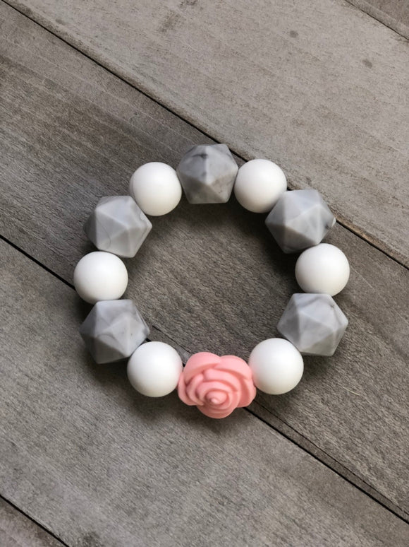 Marble, White and Pink Rose Sensory Bracelet