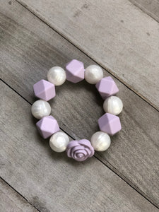 Pearl and Lavender Rose Sensory Bracelet
