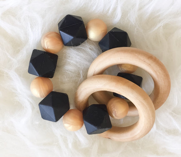 Golden Onyx Teether Rattle- Beautiful Wood and Silicone