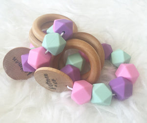 Sherbet Teether Rattle- Beautiful Silicone and Wood