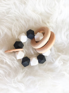 Monochrome Teether Rattle- Beautfiul Wood and Silicone