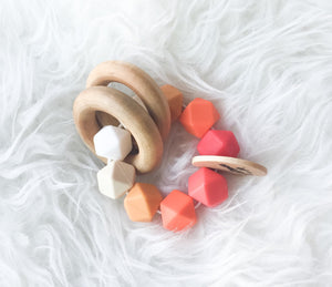 Red Ombré Teether Rattle- Beautiful Wood and Silicone