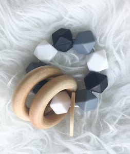 Black-Grey-White Teether Rattle- Beautiful Wood and Silicone