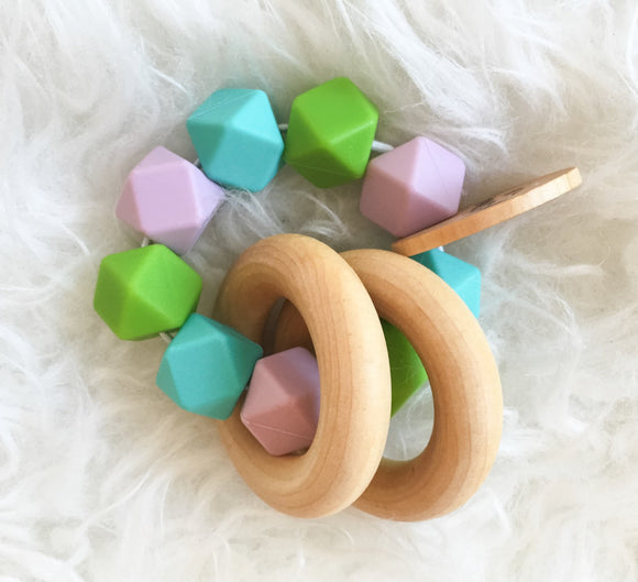 Spring Teether Rattle- Beautiful Wood and Silicone