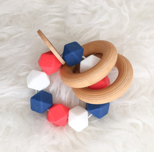 Americana Teether Rattle- Beautiful Silcone and Wood